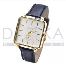 DOOKA  Women's Fashion Leather Strap Square Gold Case Watch (Black)