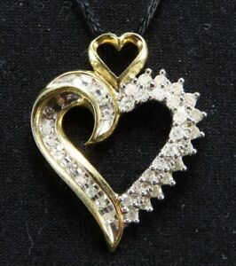 10K YELLOW GOLD Stunning 1/2TCW DIAMOND HEART PENDANT Large Size EXCELLENT!!