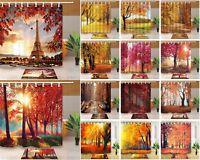 """Autumn Tree Leaf Scene Bathroom Waterproof Fabric Shower Curtain & 12 Hooks 71"""""""