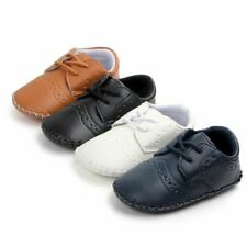 Infant Baby Boy Shallow First Walker Footwear Leather Lace Up Closure Solid Shoe