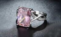Pink Crystal Swirl Ring 18K White Gold Plating Made with Swarovski Crystal