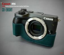 LIM'S Genuine Italy Leather Camera Half Case Cover For Canon EOS M6 - Navy