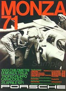 VINTAGE PORSCHE MONZA 1971 MOTOR RACING A3 POSTER PRINT