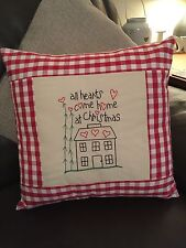 """Christmas Cushion Cover Embroidered Design Laura Ashley Red Gingham 16"""" Shabby"""