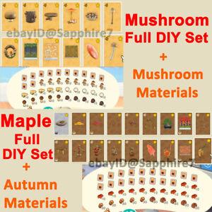 AC:New Horizons FULL DIYs Autumn-Maple or Mush-Room + Craft Materials Acorn Pine