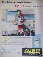 PUBLICITÉ 1959 AUER PAPRIKA CUISINIÈRE 3 FEUX TOUS GAZ - ADVERTISING