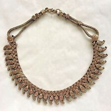 Antique Coin Silver Necklace Choker Rajasthan India Tribal Paisley Mango Pendant