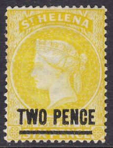 ST HELENA 1884-94 SG39 2d YELLOW MOUNTED MINT