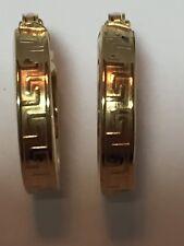 Beautiful Small Italian 14k Yellow Gold Greek Key Hoop Earrings 1.3g