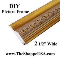 """DIY CUSTOM CUT 2 1/2"""" WIDE Gold Leaf Coin Ornate Wood Picture Frame Moulding"""