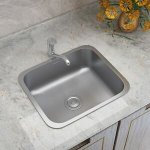 Kitchen Small Single Bowl Sink Commercial Stainless Steel Basin Waste Drainer