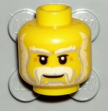 LEGO Yellow Minifig Head White Beard Moustache Santa/King 70404