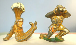 2- BARCLAY MANOIL TOY SOLDIERS-Parachute Jumping & Kneeling Forward w/Binoculars