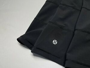 Lululemon Black Pace Rival Skirt Skort Sz 8 Tall Zip Pocket Liner EUC