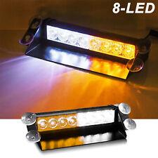 Car 8 LED Amber/White Police Strobe Flash Light Dash Emergency Flashing Light