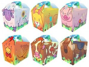 10 Cartoon Farm Boxes - Toy Loot/Party Bag Fillers Wedding/Kids Food Meal Gift