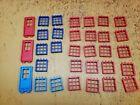 Rokenbok Parts - Windows & Doors - Dark & Light Blue, Red Lot of 32 Construction