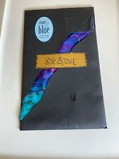 Hand Painted Wearable Art Silk Bijoux Scarf Shades of Blue Brand new