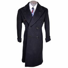Vintage Early 1940s Mens Wool Overcoat Navy Blue Coat Jos Fuoco Montreal Size M