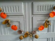Handmade Autumn Bunting with Crochet Pumpkins Leaves and Hedgehogs - Home Decor