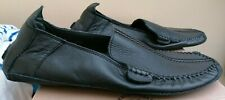 MEN'S BLACK LEATHER SLIPPERS - SIZE 9 - ROMBAH WALLACE