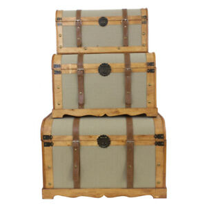 Set of 3 Vintage Wooden Rounded Industrial Storage Trunks Natural with Seagrass