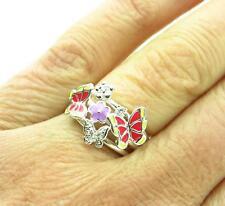 Butterfly Ring Enamel Rhinestone Butterflies Size 7