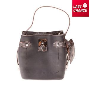 RRP €150 V73 Shoulder Bucket Bag PU Leather Patterned Details Magnetic Snap