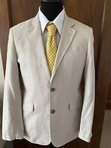 Mens Beige Linen Jacket 38R Butler And Webb
