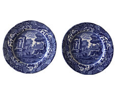 """Two vintage copeland spode blue italian Side Plates 7.5"""" (19cm) With Waved Edges"""