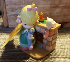 Enesco Precious Moments Christmas ornament Tag 1989 girl with fireplace kittens