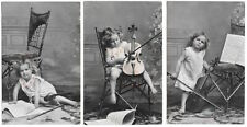 Three Tinted Real Photo Postcards Young Girl with a Violin & Sheet Music~104306