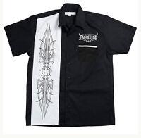 Dragstrip Clothing Bowling Shirt Hot Rod White Pinstripe Shirt Rockabilly Shirt
