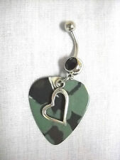 TRUE LOVE SHAPED HEART OF COUNTRY MUSIC CAMO GUITAR PICK 14g BLACK CZ BELLY RING