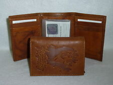 CAROLINA PANTHERS   Leather TriFold Wallet   NEW   brown 3