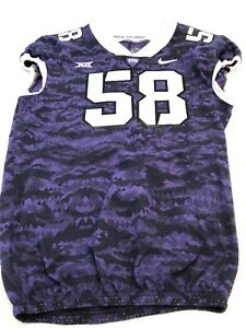 Game Worn Used Nike TCU Horned Frogs Football Jersey Size 50 #58 2018