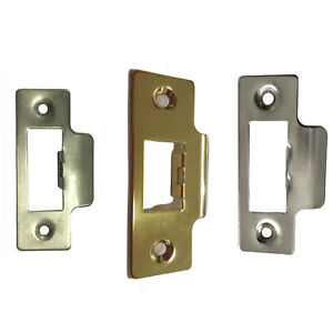 Strike Plate SHORT Polished Chrome or Brass For Tubular Lock or Mortice Latch