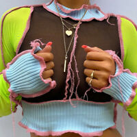 Girls Patchwork Stitch Cropped Tops Stand Collar Sexy Mesh Blouse Long Sleeve UK