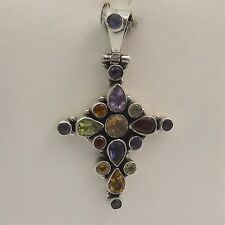Sterling Silver Natural Gemstone Christian Cross Pendant
