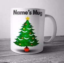 Personalised Mug Cup - Christmas Tree - Christmas Gift Secret Santa - Any NAME