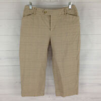 St. John's Bay Womens Size 8 Stretch Beige Flat Front Check Tapered Capri Pants