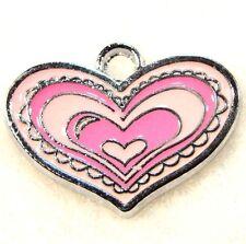 5Pcs. Tibetan Pink Colors HEART Enamel Pendants Charms Earring Drops H167