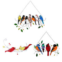 Stained Glass Birds-On-A-Wire Window Panel Hanging Sun Catcher Ornament Decor