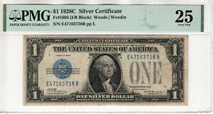 1928 C $1 SILVER CERTIFICATE NOTE FR.1603 EB BLOCK PMG VERY FINE VF 25 (738B)
