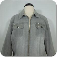 MULTIPLES Woman's Gray Denim Jacket, Studs Embellished Pockets size XL