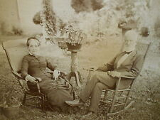 Antique Framed Photograph Distinguished Gentleman & Wife Sitting Yard - No Glass