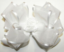 White Hair Bow Organza Satin Roses Floral Flower Girls Wedding Church Bridal