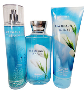 Bath & Body Works SEA ISLAND SHORE 3Pc Gift Set Mist Body Cream Shower Gel NEW