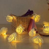 Warm White 20 LED Rose Flower Fairy Wedding Party String Lights Garden Decor