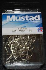 25 Pack Mustad 3551-DT Size 2/0 Duratin Saltwater Treble Hooks 3551DT-20